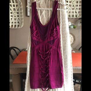 Bebe Corset Look Dress Bandage Pink